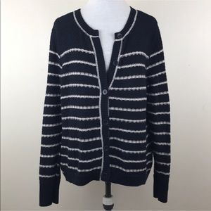 Eddie Bauer Striped Button Down Cardigan Sweater